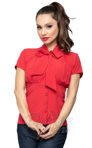 Steady Harlow Top in Red 50s