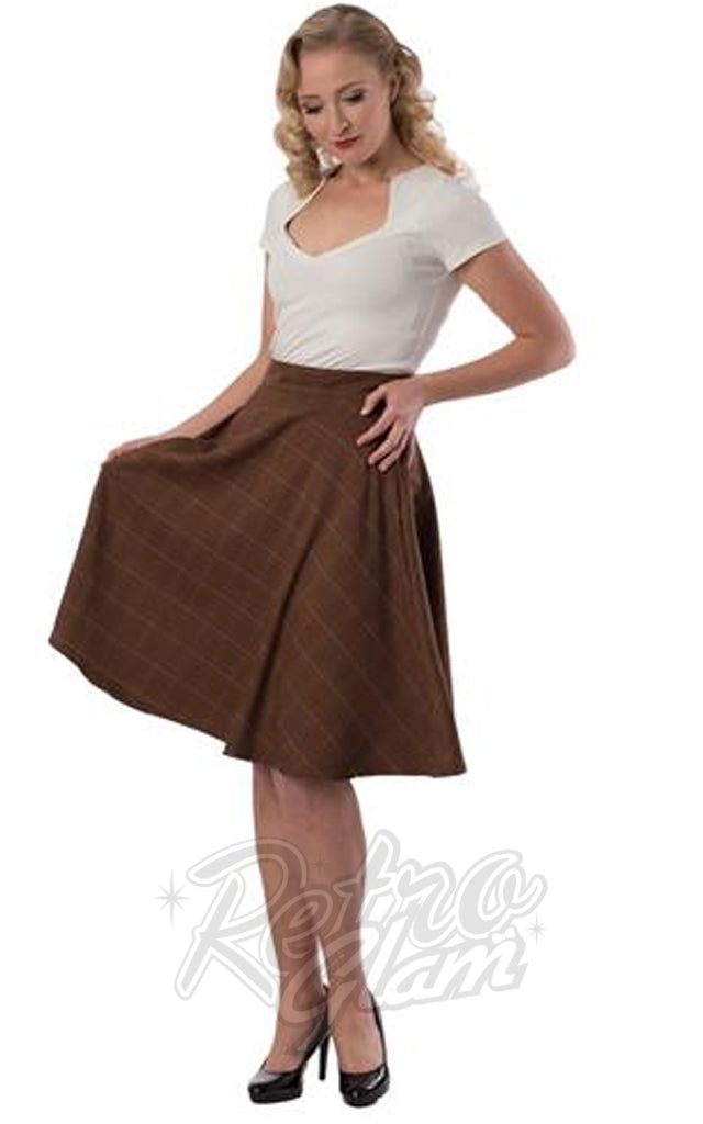 Steady Clothing Lucille Thrills Skirt in Brown Plaid