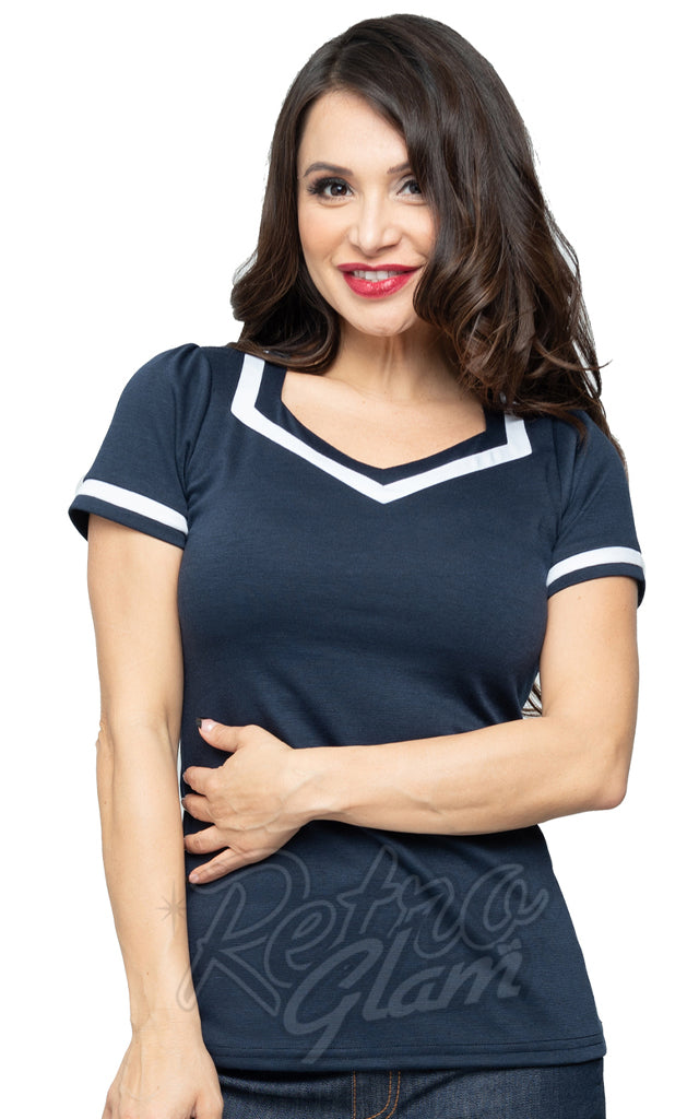 Steady Clothing Saylor Top in Navy & White