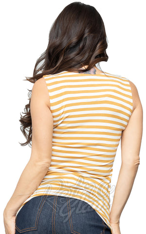 Steady Clothing Striped Sweetheart Top in Mustard & Ivory back