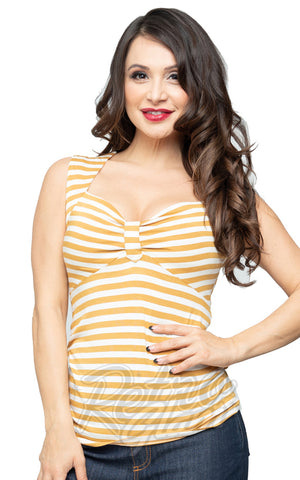 Steady Clothing Striped Sweetheart Top in Mustard & Ivory