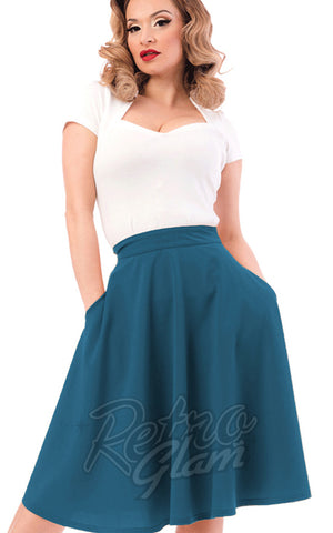 Steady Clothing High Waisted Thrills Skirt in Dark Teal detail