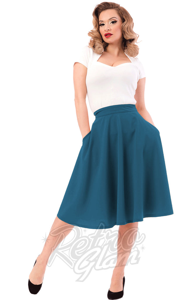 Steady Clothing High Waisted Thrills Skirt in Dark Teal - Upon Request