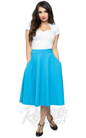 Steady Clothing High Waisted Thrills Skirt in Turquoise swing