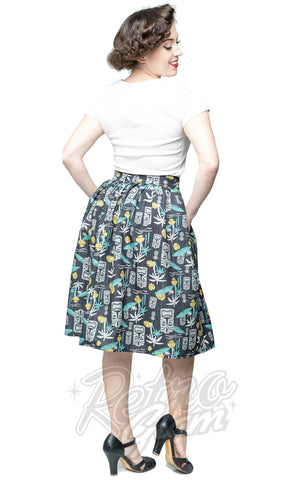 Steady Clothing Tiki in Paradise Print Skirt on Black back