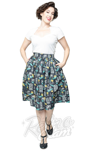 Steady Clothing Tiki in Paradise Print Skirt on Black