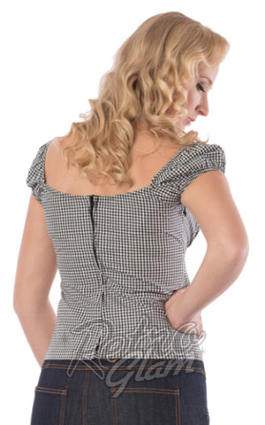 Steady Daisy Top in Black Gingham back