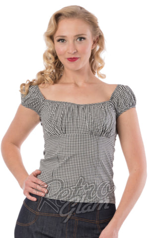 Steady Daisy Top in Black Gingham