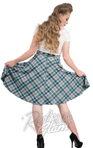 Steady Leona Plaid Pocket Thrills Skirt in Navy and Green back