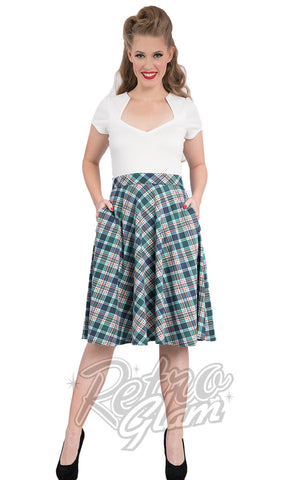 Steady Leona Plaid Pocket Thrills Skirt in Navy and Green
