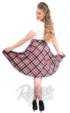 Steady Leona Plaid Pocket Thrills Skirt in Black and Pink back