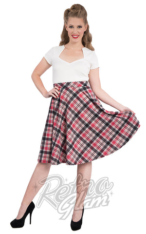 Steady Leona Plaid Pocket Thrills Skirt in Black and Pink