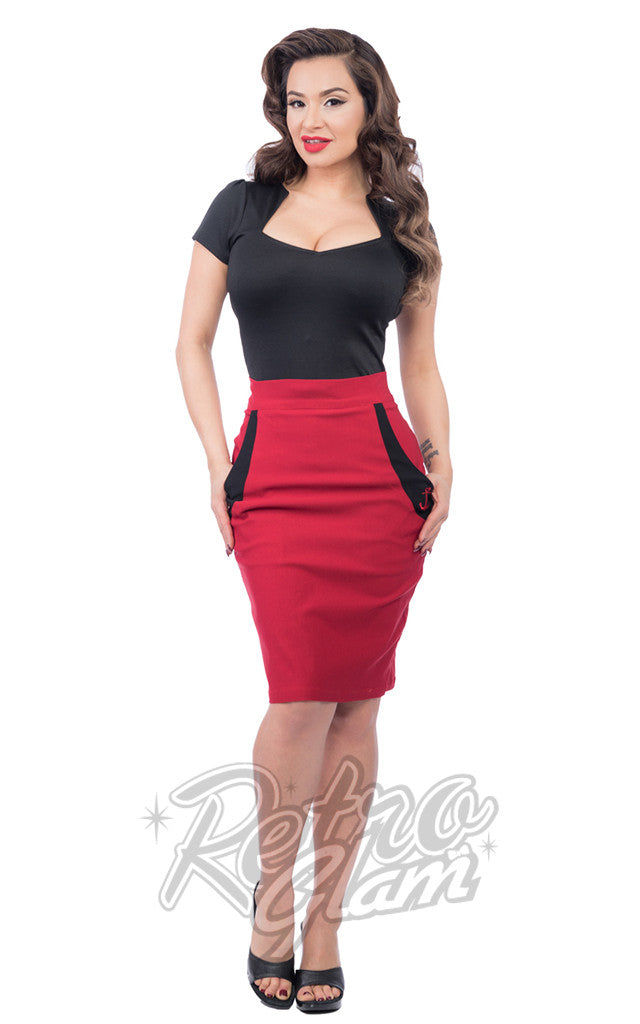 Steady Sail Away Pencil Skirt in Red