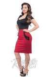 Steady rockabilly Sail Away Wiggle Skirt in Red with black accents