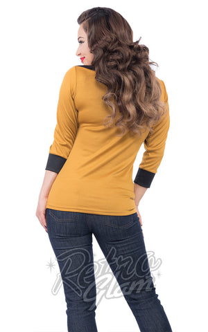 Steady Boatneck Top in Mustard with black accents back