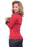 Steady retro Boatneck Bow Top in Red with black trim