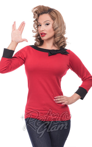 Steady Boatneck Bow Top in Red