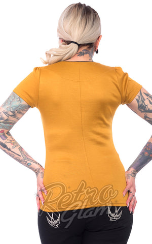Steady Sophia angled neckline Top in Mustard with black trim