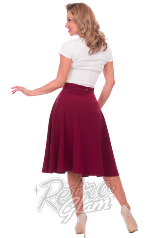 Steady Clothing High Waisted Thrills full Skirt in Burgundy back