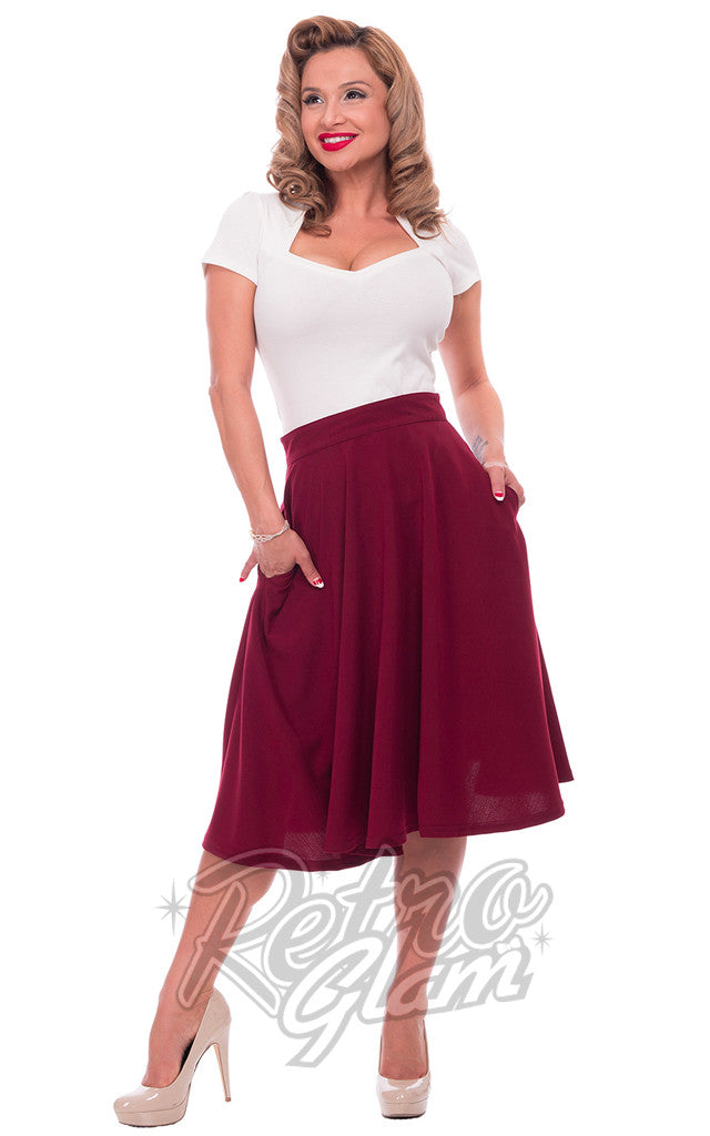 Steady Clothing High Waisted Thrills Skirt in Burgundy