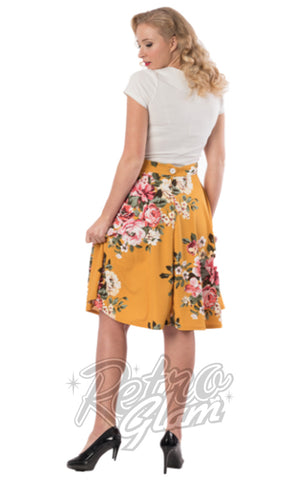 Steady Flora Thrills Skirt in Mustard back