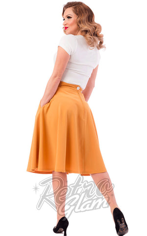 Steady Clothing High Waisted Thrills Skirt in Mustard Back