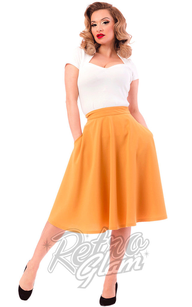 Steady Clothing High Waisted Thrills Skirt in Mustard - Upon Request