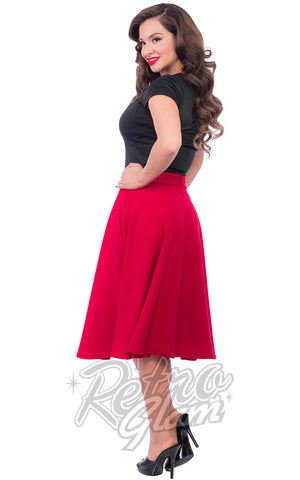 Steady Clothing High Waisted Thrills Skirt in Red Side