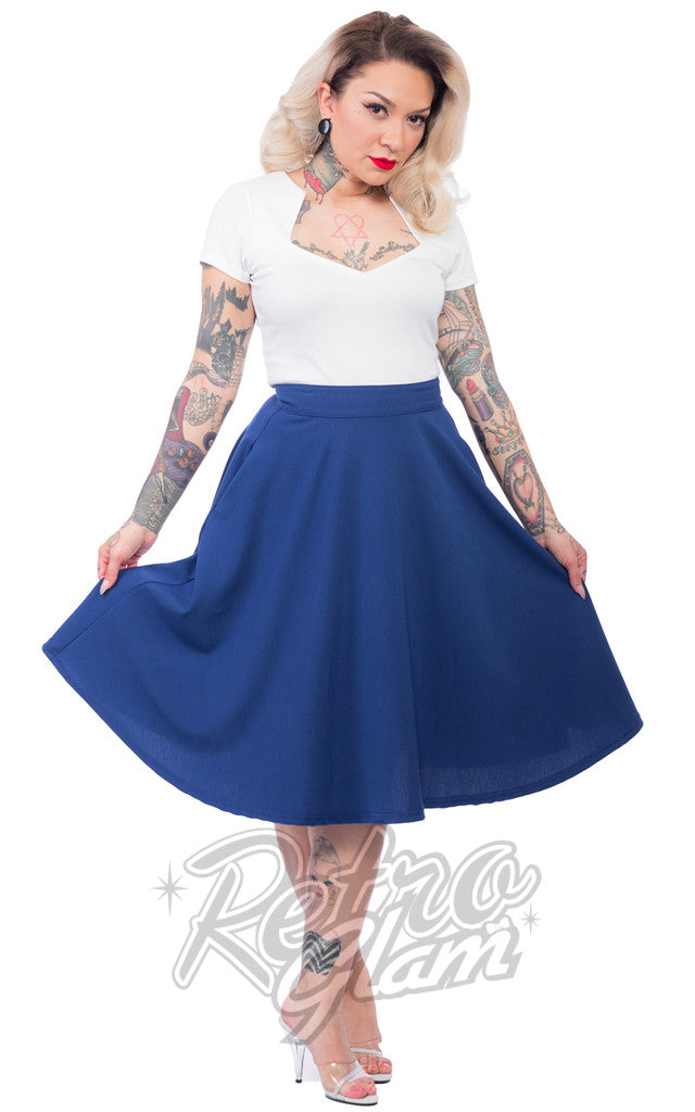Steady Clothing High Waisted Thrills Skirt in Royal Blue - Upon Request!