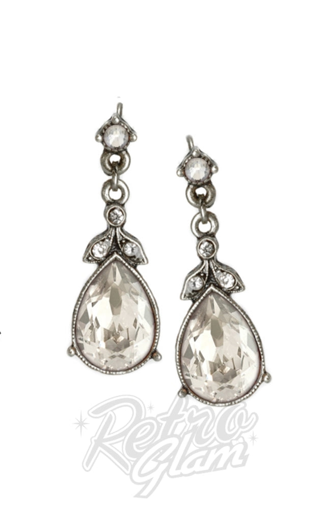 Sweet Romance Faceted Crystal Teardrop Earrings in Silver & Clear Crystal