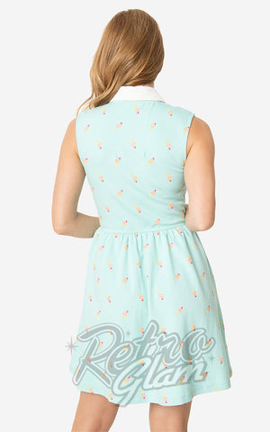 Unique Vintage Josie Dress in Mint Ice Cream Print back