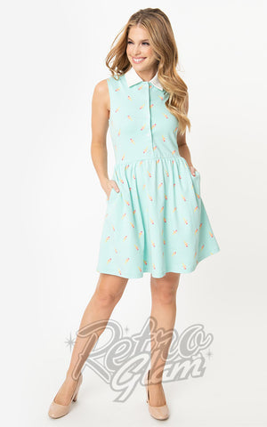 Unique Vintage Josie Dress in Mint Ice Cream Print