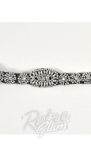 Unique Vintage Silver Beaded & Rhinestone Deco Flapper Headband detail