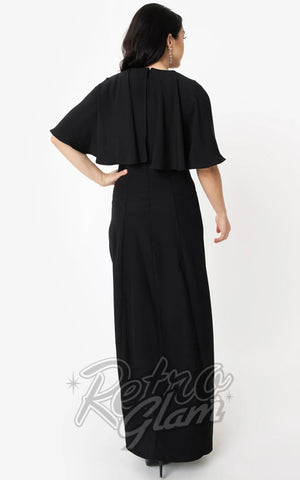 Unique Vintage Addams Caplette Gown in Black back