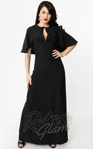 Unique Vintage Addams Caplette Gown in Black