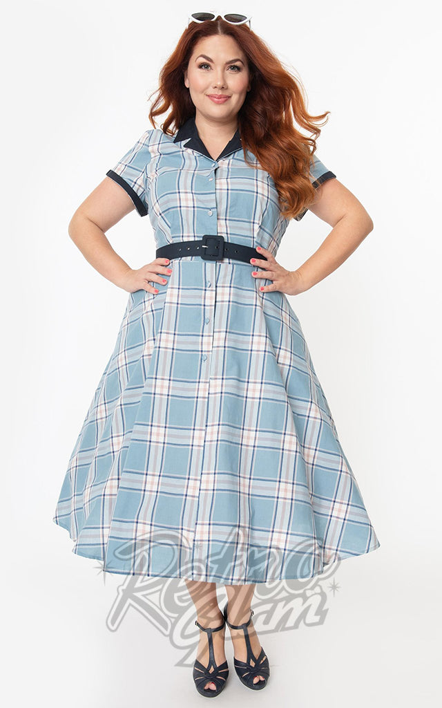 Unique Vintage Alexis Swing Dress in Light Blue Plaid