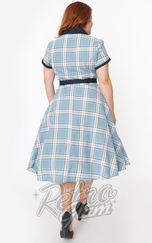 Unique Vintage Alexis Swing Dress in Light Blue Plaid curvy back
