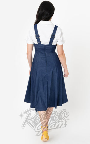 Unique Vintage 1950s Amma Suspender Swing Skirt in Denim Blue back