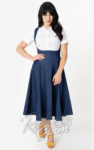 Unique Vintage 1950s Amma Suspender Swing Skirt in Denim Blue