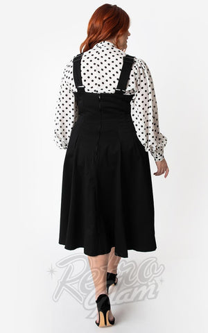 Unique Vintage 1950s Amma Suspender Swing Skirt in Black curvy back