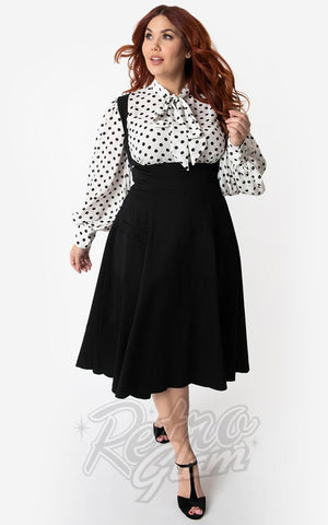 Unique Vintage 1950s Amma Suspender Swing Skirt in Black curvy