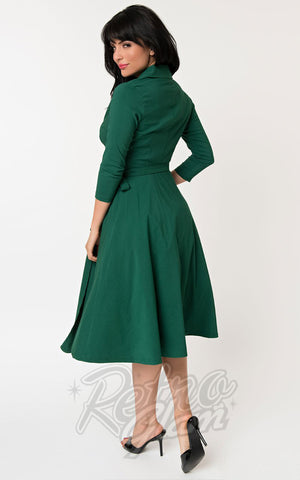 Unique Vintage Anna Wrap Dress in Green back