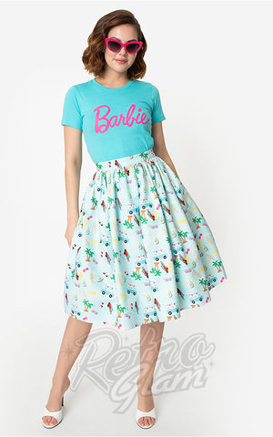Unique Vintage Barbie Vacation Adventure Swing Skirt in Blue