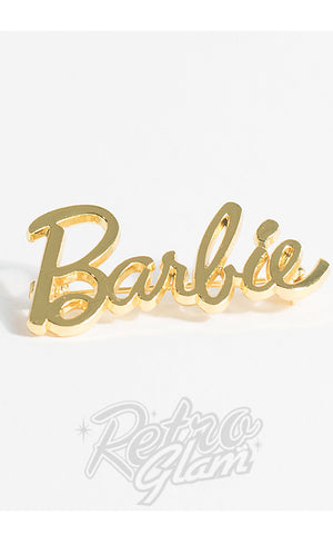 Unique Vintage Gold Barbie Signature Pin