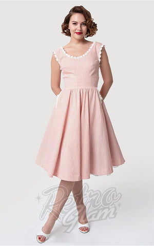 Unique Vintage Barbie-Q Swing Dress in Rose & White Gingham