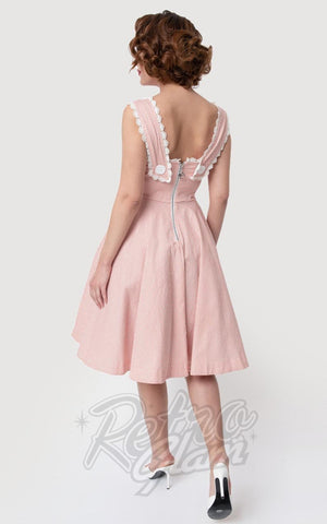 Unique Vintage Barbie-Q Swing Dress in Rose & White Gingham back
