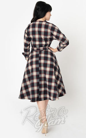 Unique Vintage Brooklyn Shirt Dress in Navy & Cream Plaid back
