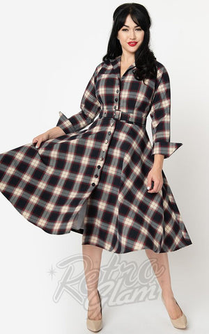 Unique Vintage Brooklyn Shirt Dress in Navy & Cream Plaid
