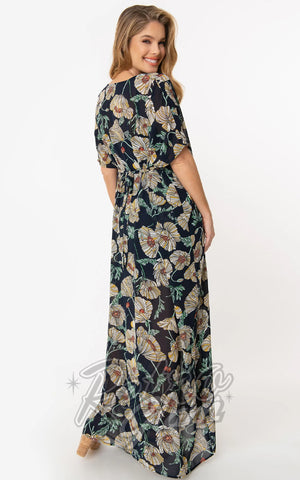 Unique Vintage Liz Caftan Dress in Navy & Ivory Floral Chiffon back