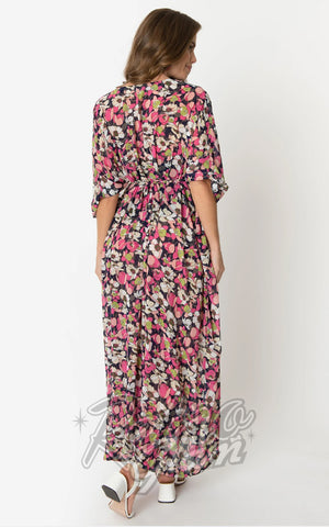 Unique Vintage Liz Caftan Dress in Pink & Ivory Floral Chiffon back